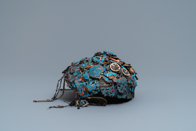 A Chinese ceremonial 'fengguang' coral- and silver-embellished kingfisher feather headdress, 19th C.