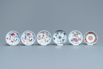 Six Chinese famille rose and Imari-style cups and saucers, Yongzheng/Qianlong