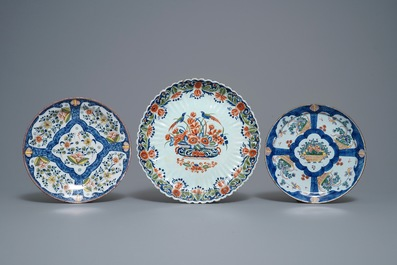 A collection of nine polychrome and blue and white Dutch Delft dishes, 18th C.