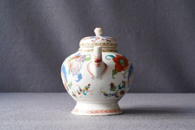 A Chinese famille rose 'Pompadour' teapot and cover, Qianlong