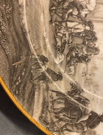 A Chinese grisaille 'Return from the hunt' dish with a coat of arms on the back, Qianlong