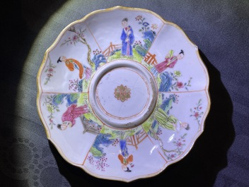 Eight Chinese famille rose cups and saucers, Yongzheng/Qianlong