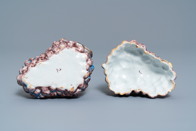 A polychrome Dutch Delft 'bunch of grapes' tureen and cover, 18th C.