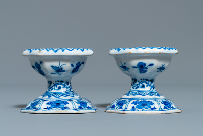 A pair of Dutch Delft blue and white salts, 18th C.