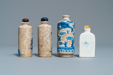 Nine Chinese blue and white snuff bottles, 19/20th C.