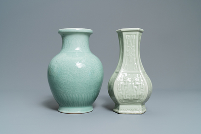 Two Chinese monochrome celadon vases, 19/20th C.