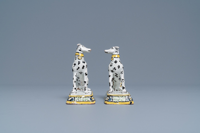 A pair of polychrome Brussels faience models of greyhounds, ca. 1800