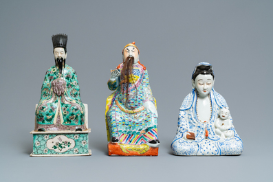 Three Chinese famille rose and verte figures, 19/20th c.