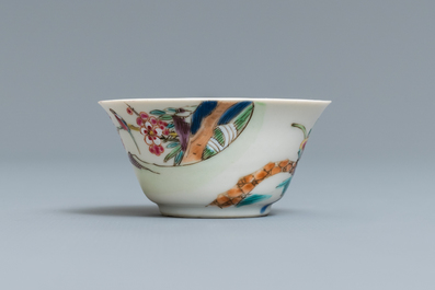 A Chinese famille rose 'deer' cup and saucer, Yongzheng