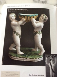 A polychrome faience group with two Bacchus figures, Geo Martel, Dèsvres, early 20th C.
