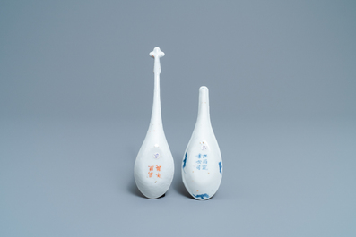 Two Chinese blue and white and iron red spoons with bats and a dragon, 19/20th C.