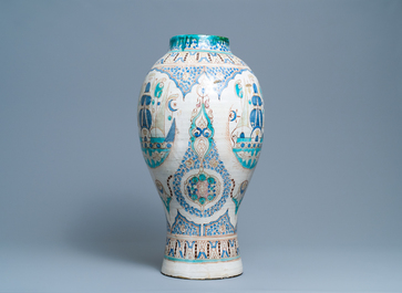 A large polychrome pottery vase, Morocco or Tunesia, ca. 1900