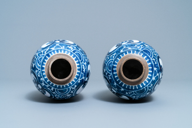 A pair of Dutch Delft blue and white chinoiserie Kangxi-style vases, ca. 1800