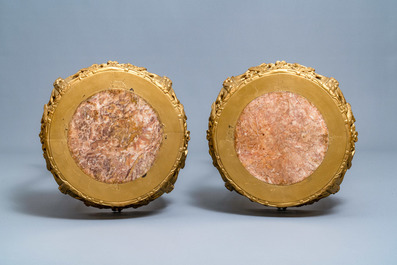 A pair of massive French Sèvres-style vases with gilt bronze mounts, signed Desprez, 19th C.