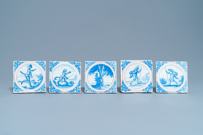 Nine blue, white and manganese Delft style tiles, Montpellier, France, 17th C.