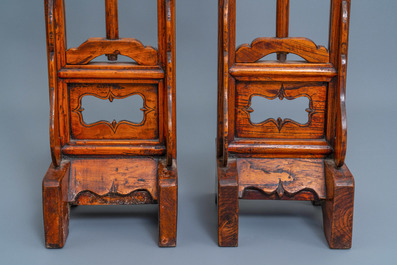 A pair of Chinese wooden lamp stands, 19th C.