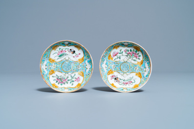 A Chinese famille rose 'tête-à-tête' tea service on tray, 19th C.