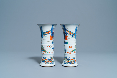 A pair of Chinese wucai 'gu' vases, 19th C.