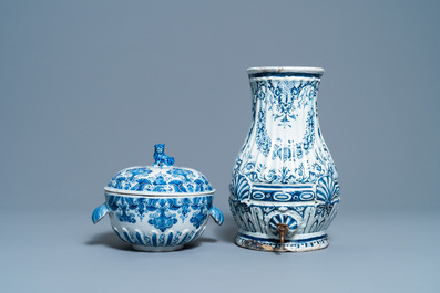 Five pieces of Dutch and French Delftware, 18/19th C.