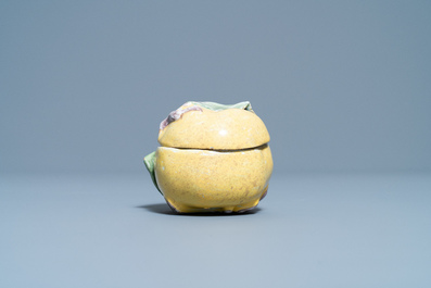 A small polychrome French faience apple-shaped tureen and cover, 18th C.