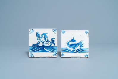 Ten Dutch Delft blue and white and manganese tiles with seacreatures, 17/18th C.