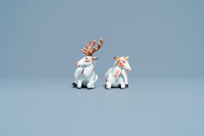 A pair of porcelain models of deer, probably Chelsea, England, 18th C.