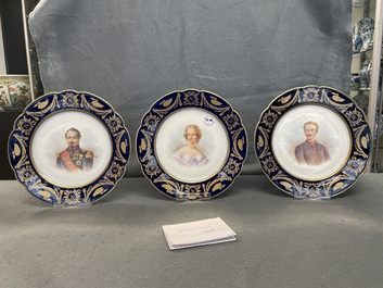 Three Sèvres plates with portraits of Napoleon III, Eugenie and Louis-Napoleon, France, 19th C.