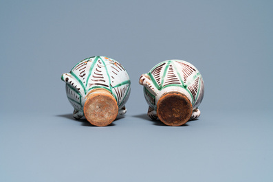 A pair of polychrome Spanish pottery mortars, 16/17th C.