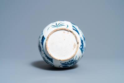 A Dutch Delft blue and white chinoiserie bottle vase in transitional style, ca. 1700