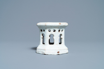A white Delftware architectural salt cellar, France or Italy, 18th C.