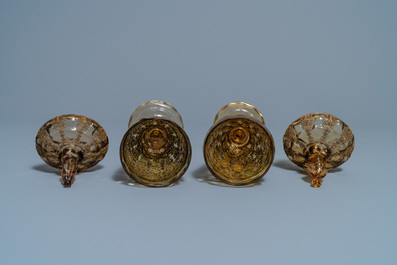 A pair of Russian or Eastern-European gilt copper and glass-inlaid glass goblets and covers, 19th C.