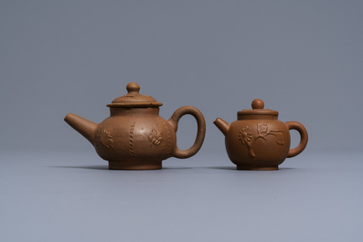 Two Dutch Delft redware teapots and covers, ca. 1700