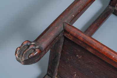Two Chinese hongmu wooden stands with marble tops, 19th C.