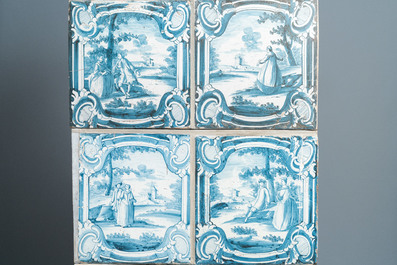 A composite stove with blue and white stove tiles, Nurnberg faience, Germany, 18th C.