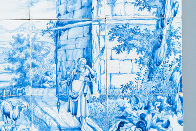 A very fine Dutch Delft blue and white tile mural with a shepherdess, 18th C.