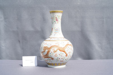 A Chinese famille rose 'dragon' bottle vase, Guangxu mark, 19/20th C.