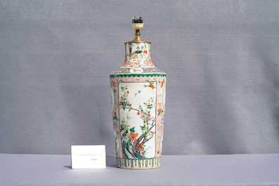A Chinese lamp-mounted famille verte vase, 19th C.