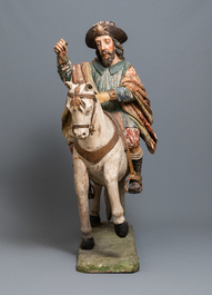 A large polychromed wooden group with Saint James of Compostela on horseback, Spain, 16th C.
