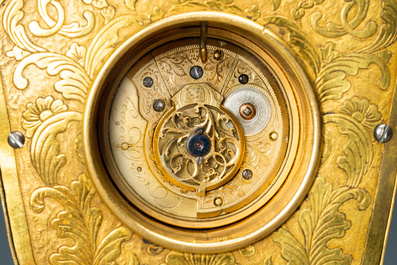 A Chinese semi-precious stone embellished gilt-bronze wall clock, Canton workshop and George Prior of London for the Chinese market, Qianlong
