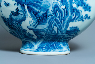A large Chinese blue and white moonflask 'deer' vase, Qianlong mark and of the period