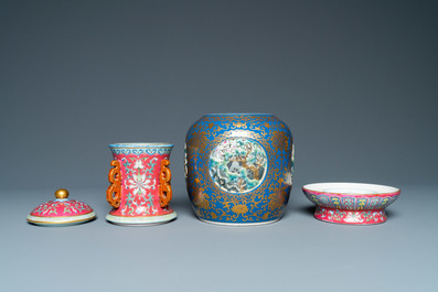 A four-piece Chinese famille rose revolving and reticulated vase, Qianlong mark, Republic