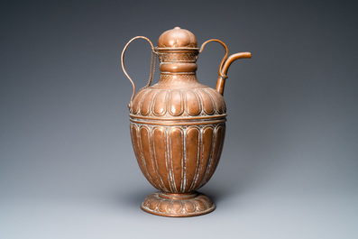 A large Italian copper ewer and cover, 17th C.