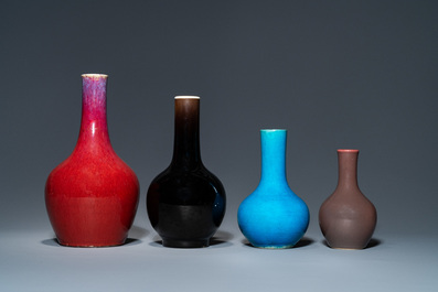 Four Chinese monochrome bottle vases, Kangxi and 19th C.