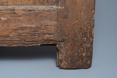 A carved oak front panel of a coffer with the arms of France and the Dauphin, France, 2nd half 15th C.