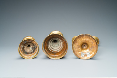 Three bronze candlesticks, Flanders and Germany, 16th C.