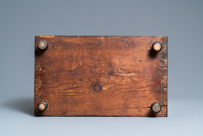A small mahogany veneer cabinet with engraved bone plaques, Italy, 17th C.