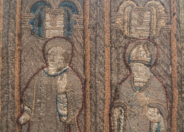 Two large linen, silk- and silverthread orphrey fragments depicting saints below arcatures, Spain, early 17th C.