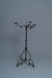 A wrought iron standing candle holder, North of France or Flanders, 15th C.