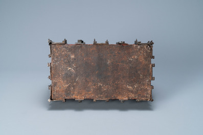 A partly red painted cast iron casket, France, 15th C.
