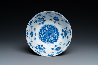 A fine Chinese blue and white 'sanduo' bowl, Kangxi mark and of the period